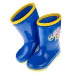 (15~21公分)粉紅豬小妹喬治豬踢足球附鞋墊藍色兒童雨鞋
