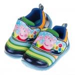 (14~18公分)粉紅豬小妹佩佩與喬治藍色兒童毛毛蟲休閒鞋
