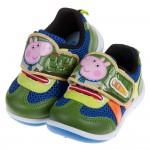 (14~18公分)粉紅豬小妹喬治豬藍綠色透氣兒童休閒鞋