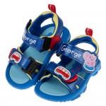 (14~18公分)粉紅豬小妹喬治豬藍色小車全開式兒童涼鞋
