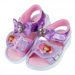 (15~19公分)蘇菲亞小公主鑽石蝴蝶結紫色兒童電燈涼鞋R#...