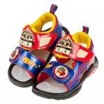 (15~19公分)POLI救援小英雄羅伊紅色自黏兒童電燈涼鞋R#HE3LA*XBX