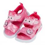 (15~19公分)POLI救援小英雄安寶粉色自黏兒童電燈涼鞋...