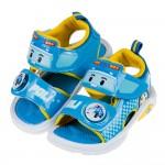 (15~19公分)POLI救援小英雄波力藍色自黏兒童電燈涼鞋...