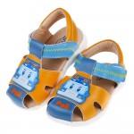(13.5~15公分)POLI救援小英雄波力藍黃色寶寶皮質護趾涼鞋R#HD3NK*BXX