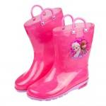 (17~22公分)Disney冰雪奇緣姊妹桃粉色提把兒童雨鞋...