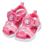 (15~19公分)POLI救援小英雄安寶桃紅自黏兒童電燈護趾涼鞋R#HD3LG*XGX