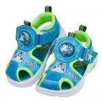 (15~19公分)POLI救援小英雄波力藍綠自黏兒童電燈護趾涼鞋R#HD3LB*XGX
