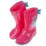 (17~22公分)Disney冰雪奇緣粉色艾莎蝴蝶結兒童雨鞋