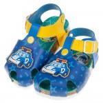 (15~19公分)POLI救援小英雄警車波力藍色歐風兒童氣墊涼鞋