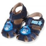(13.5~15公分)POLI救援小英雄波力牛仔藍色寶寶護趾涼鞋
