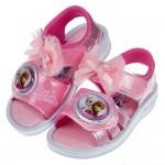 (15~19公分)Disney冰雪奇緣紗網蝴蝶結粉色兒童電燈涼鞋