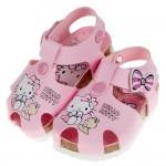 (13~18公分)HelloKItty凱蒂貓漫畫風粉色歐風護趾兒童涼鞋