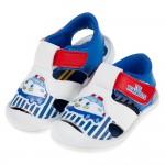 (13~16公分)三麗鷗交通小車白藍色寶寶護趾涼鞋