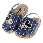 (12.5~14.5公分)Disney迪士尼米奇藍色星星護趾鬆緊帶寶寶拖鞋