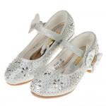 (17~22.5公分)華麗風格璀燦亮鑽銀色低跟公主鞋