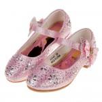(17~22.5公分)華麗風格璀燦亮鑽粉色低跟公主鞋