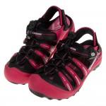 (19~22公分)GP流線運動磁扣式黑桃紅橡膠兒童護趾涼鞋