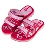 (17~20公分)GP童趣字母雙魔鬼氈桃紅色橡膠兒童拖鞋