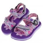 (16~18.5公分)GP蝴蝶亮粉磁扣式紫色橡膠兒童運動涼鞋