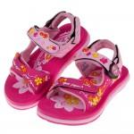 (16~18.5公分)GP蝴蝶飛舞磁扣式桃紅色橡膠兒童運動涼鞋