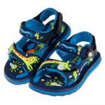 (14.5~18.5公分)GP長頸鹿童趣磁扣式藍色橡膠兒童運動涼鞋