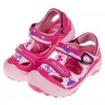 (16~20公分)GP小鯨魚磁扣式桃紅色橡膠兒童護趾涼鞋