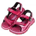 (19~22公分)GP排水速乾磁扣式桃紅色橡膠兒童運動涼鞋