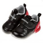 (12.5~14.5公分)Moonstar日本3E寬楦黑色光澤感寶寶機能學步鞋P#MU4ND*BXX