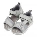 (15~21公分)Moonstar日本速乾活力灰色兒童機能涼鞋P#HE3NMM