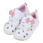 (16~19公分)Moonstar日本櫻桃白色兒童機能運動鞋...