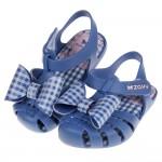 (13~15.5公分)ZAXY童趣經典格紋蝴蝶結淺藍色寶寶公主涼鞋(香香鞋)