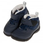 (15~21公分)Moonstar日本雪地遊玩深藍色刷毛兒童機能運動鞋(雪靴)