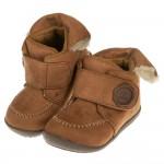 (13~16公分)Moonstar日本HI系列棕色麂皮寶寶機能學步鞋