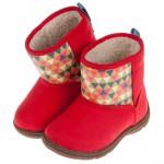 (13~15公分)Moonstar日本童趣紅色兒童刷毛寶寶靴