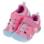 (15~19公分)Moonstar日本梅粉色網布透氣兒童機能運動鞋