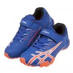 (19~25公分)asics亞瑟士LAZERBEAM藍底螢光橘兒童機能運動鞋C#KU3NB*XXB