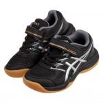 (17~22公分)asics亞瑟士UPCOURT黑銀色膠底兒童機能運動鞋羽球鞋C#KN3ND*XMM