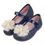 (15.5~20公分)朵朵花朵牛仔深藍色兒童公主鞋R#FF3...