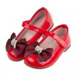 (15.5~20公分)環繞亮鑽蝴蝶結亮面紅色兒童公主鞋R#F...