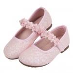 (15.5~20公分)閃亮花舞粉色兒童公主鞋R#FH3HG*XGX