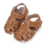 (13~15.5公分)台灣製棕色手工皮質寶寶護趾涼鞋R#HD...