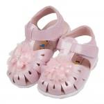 (13.5~17公分)蕾絲蝴蝶粉色真皮寶寶涼鞋R#HD3NG...