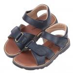 (16~23公分)台灣製藍色皮革可黏式涼鞋R#HE3NB*X...