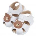(13~15.5公分)微笑可愛咖啡小熊白色真皮寶寶涼鞋R#H...