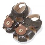 (13~15.5公分)微笑可愛咖啡小熊深綠色真皮寶寶涼鞋R#...