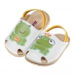 (12.5~15公分)青蛙王子純白色護趾鬆緊帶寶寶拖鞋
