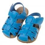 (12.5~15公分)台灣製天藍色皮質寶寶護趾涼鞋
