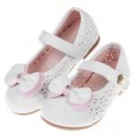 (15.5~20公分)圓葉蝴蝶結雕花透氣白色兒童公主鞋