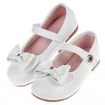 (15.5~20公分)典雅單鑽蝴蝶結白色兒童公主鞋